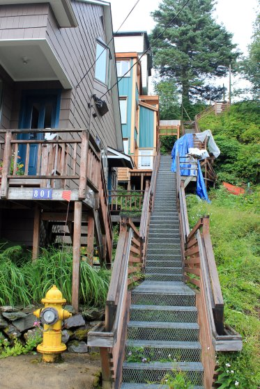 Stairway connecting houses built on hillside