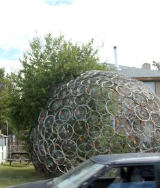 Sculpture made from bicycle wheels
