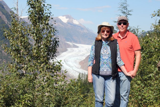 Jan and Phil at Toe of Salmon Glacier