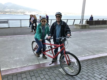 Jan and Phil on tandem bicycle