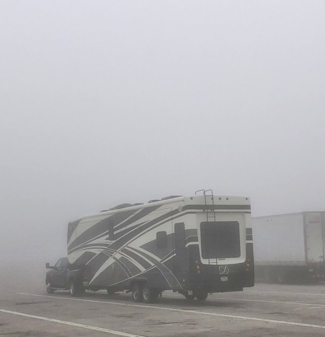Our rig in the fog