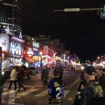 View down Broadway after Predators' game
