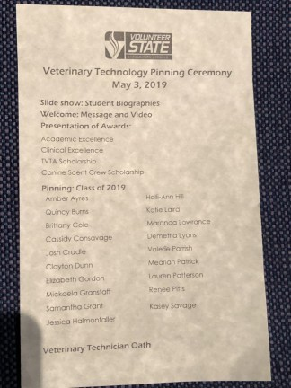 Pinning Ceremony program