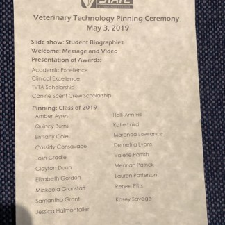 Pinning Ceremony program