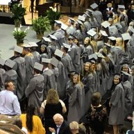 Lizzi in graduation crowd