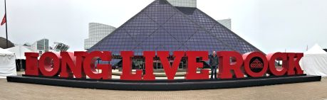 Phil in front of Rock & Rock Hall of Fame