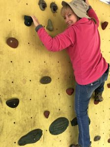 Jan on climbing wall