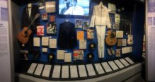 Display including Elvis and Jerry Lee Lewis memorabilia