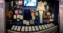 Display including Elvis and Jerry Lee Lewis memorabilia