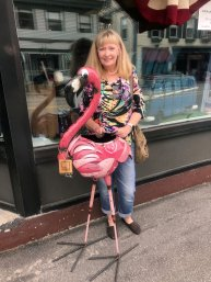 Jan with flamingo in Southeast Harbor