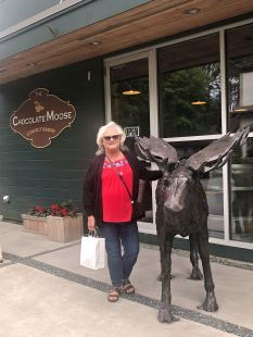 Sheila with chocolate moose