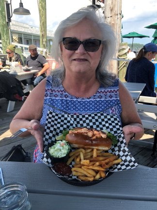 Sheila with her lobster roll