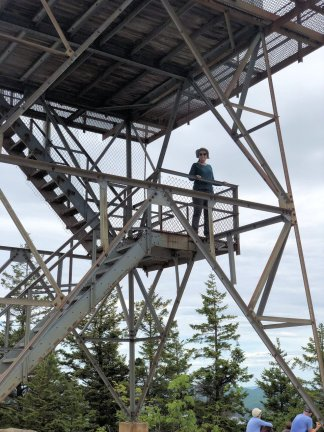 Jan on fire tower at Beech Mountain summit
