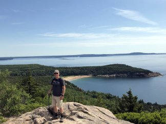 Phil near Gorham Mountain summit overlooking Sand Beach