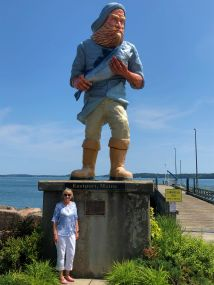 Jan at Fisherman Statue, built for a 2001 TV show