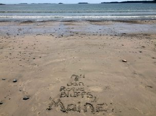 Sand writing at Roque Bluffs State Park