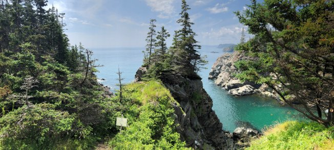 Panorama of coastline from trail