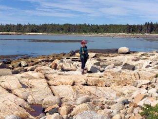 Jan on trail by bay