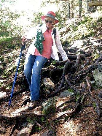 Jan descending East Trail