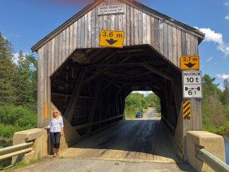 Jan at Maxwell Crossing covered bridge