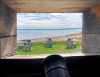 View of battery from second floor of blockhouse