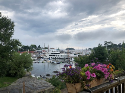 View of Camden harbor from store on Main Street