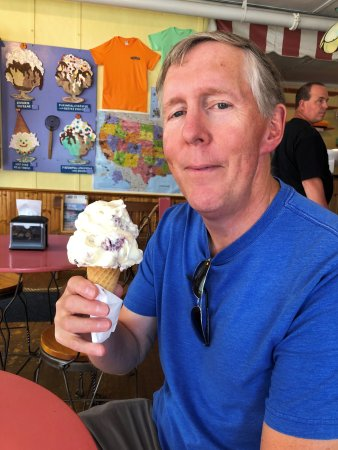 Phil with his single scoop of Blueberry Cheesecake ice cream