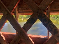 View from inside Sachs Covered Bridge