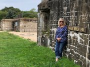 Jan at remains of Fort Foster gun battery
