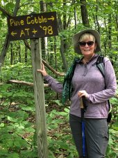 Jan at trail marker