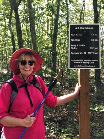 Jan at Appalachian Trail trail marker