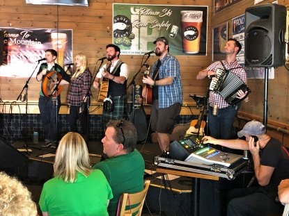 Rogue Diplomats performing on Irish Pub stage