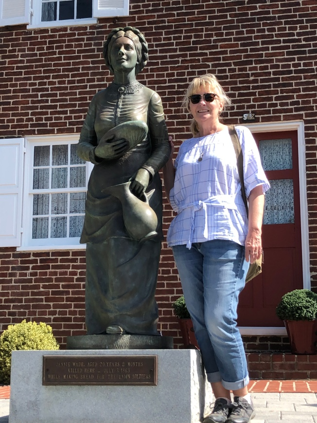 Jan with statue of Jennie Wade