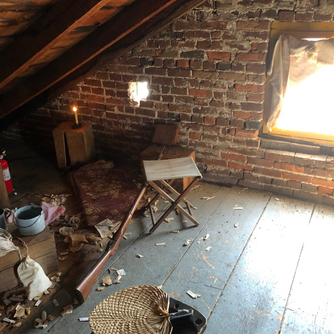 Attic of Shriver House where Confederate sharpshooters were positioned