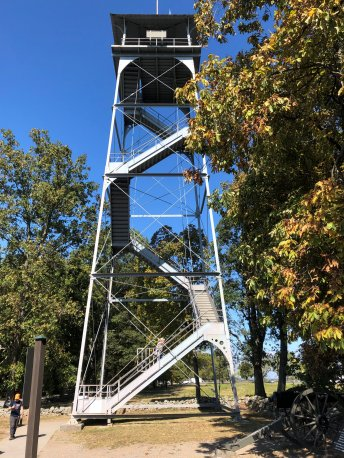 Jan climbing observation tower