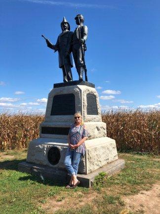 Jan at memorial on cornfield