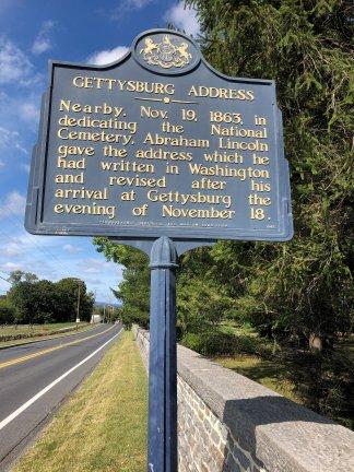 Marker for Gettysburg Address