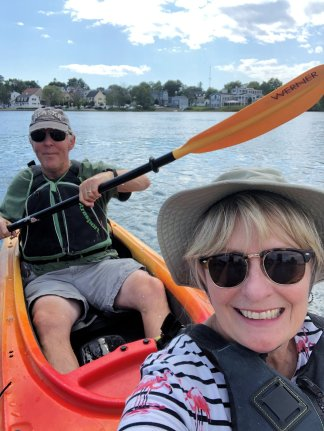 Phil and Jan kayaking on the Kennebunk River