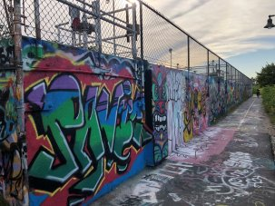 Graffiti wall on Eastern Promenade Trail