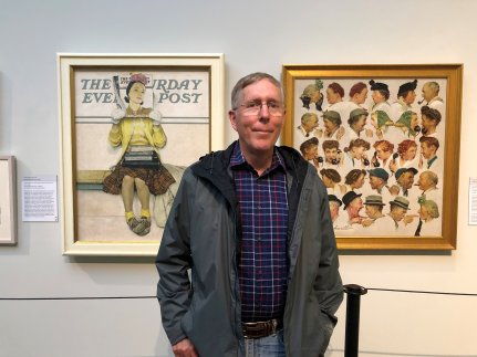 Phil with two Rockwell works