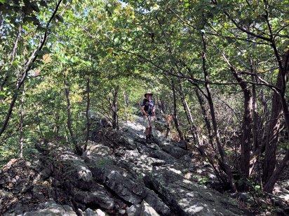 Phil climbing Wolf Rocks