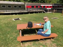 Jan picnicking at Frostburg station