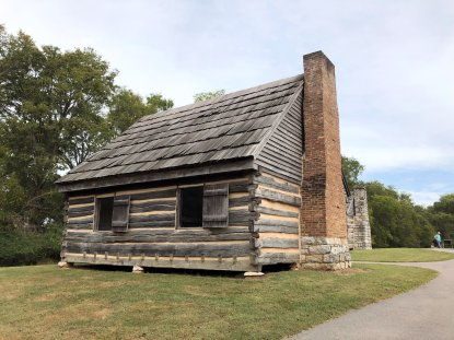Slave cabin on site of the Johnson's first homestead at the Hermitage
