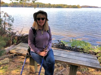 Jan relaxing by lake