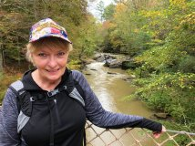 Jan on suspension bridge over Black Creek