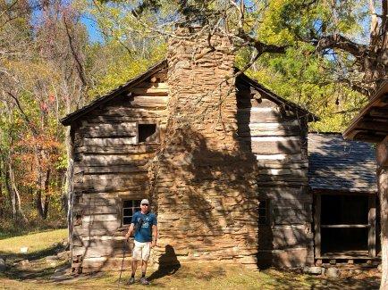 Phil outside cabin