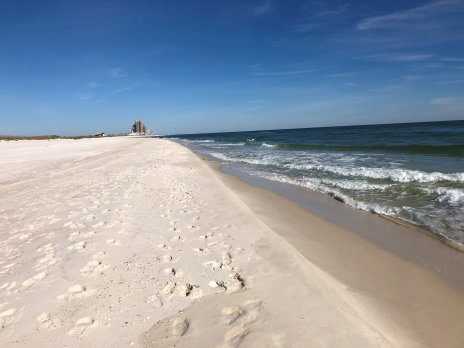 View up the beach