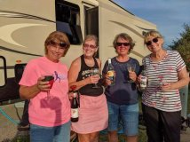 Roxi, Jo, Beth and Jan wrapping up their wine tasting party