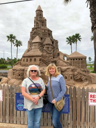 Sheila and Jan at SPI Visitor Center sand castles
