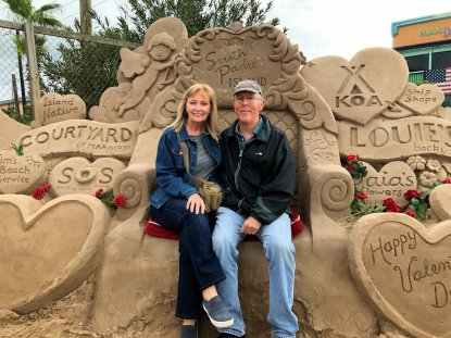 Jan and Phil sitting on sand castle